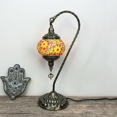 Glass Lantern Shape Desk Light with Plug In Cord 1 Light Vintage Table Light in Blue/Multi-Color/Orange for Bar
