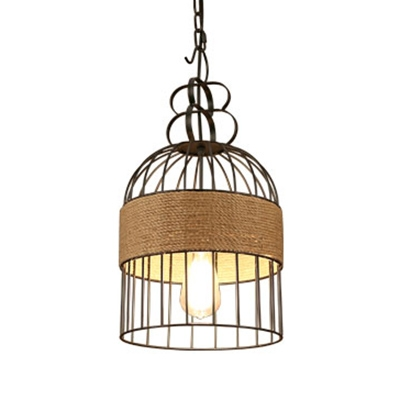 Rustic Stylish Birdcage Pendant Light 1 Light Metal Hanging Light in Black for Balcony