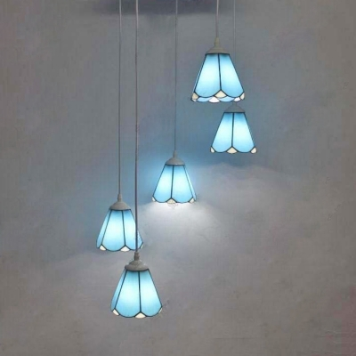 Kid Bedroom Conical Pendant Light Glass 5 Lights Tiffany Rustic Blue/White Ceiling Pendant