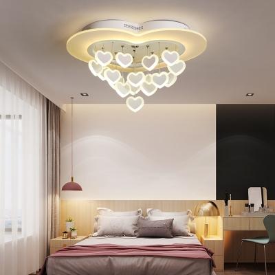 Lovely Heart Led Ceiling Mount Light Metal Pink White Ceiling Lamp For Girls Bedroom Beautifulhalo Com
