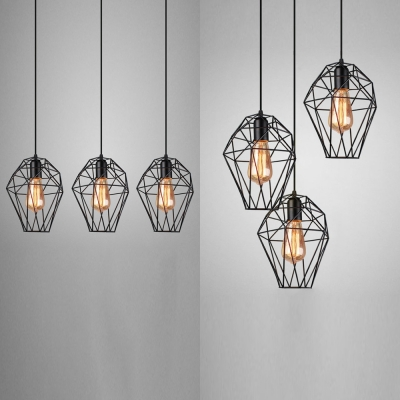 Metal Cage Ceiling Pendant with Linear/Round Canopy 3 Lights Antique Hanging Light in Black for Bar, HL537126