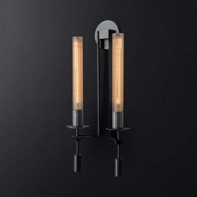 Metal Tube Sconce Light 1/2 Lights Simple Style Wall Lamp in Black/Brass/Chrome for Bathroom
