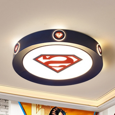 Movie Element Round Flushmount Light Cartoon Acrylic Ceiling Lamp in Blue for Boys Bedroom