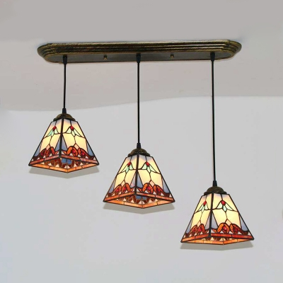 Multi-Color Suspension Light 3 Lights Tiffany Style Glass Hanging Light for Living Room