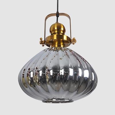 Nordic Style Melon Ceiling Light Copper/Chrome/Gold Glass 1 Light Suspension Light for Bedroom