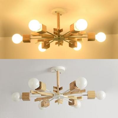 Nordic Style Snowflake Chandelier Wood 3/6/8 Lights Beige Pendant Lamp for Living Room Kid Bedroom