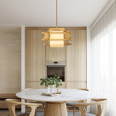 One Light Cube Pendant Light Contemporary Wood Frosted Glass Hanging Lamp in White for Stair