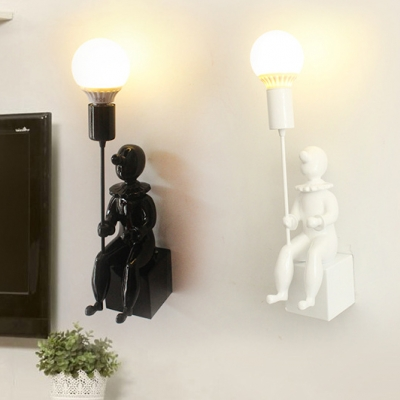 Restaurant Child Shape Wall Sconce 1/2 Pack Resin 1 Light Modern Black/White Sconce Light