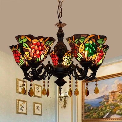 Rustic Style Grape Pendant Light 5 Lights Stained Glass Chandelier with Crystal for Hotel