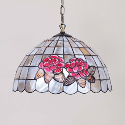 Shell Bloom Pendant Light 12/14/16 Inch Tiffany Style Suspension Light in Beige for Foyer