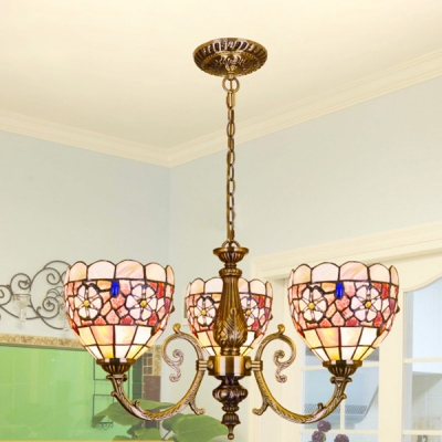 Shell Dome Ceiling Lamp with Flower Bedroom 3 Lights Vintage Style Colorful Chandelier