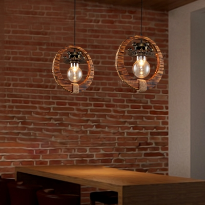Single Light Bare Bulb Pendant Light with Wood Ring Industrial Glass Hanging Lamp in Brass