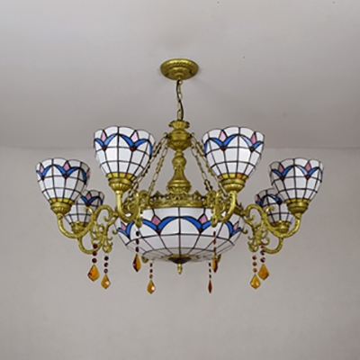 Stained Glass Dome Chandelier 9 Lights Tiffany Style Antique Hanging Light for Dining Room