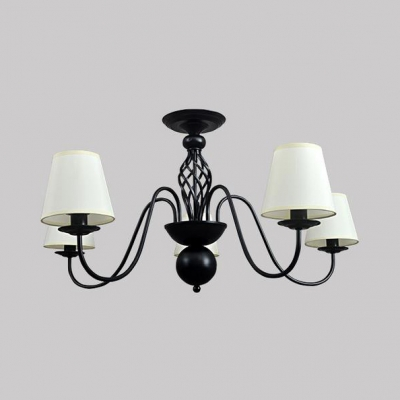 Tapered Shade Pendant Lighting Traditional Black Metal and Fabric Chandelier Light for Bedroom Hallway