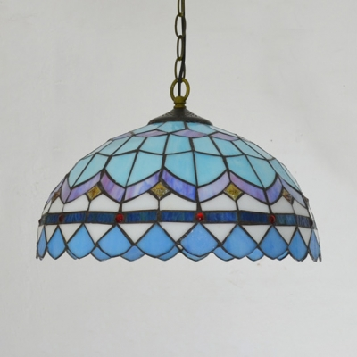 Tiffany Antique Dome Shade Pendant Lamp Stained Glass Suspension Light for Living Room