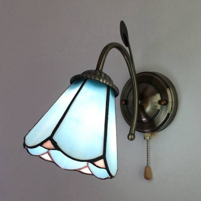 Tiffany Brass Wall Light Cone/Dome 1 Light Stained Glass Wall Sconce with Pull Chain for Bedroom
