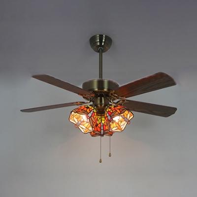 Tiffany Flower Semi Flush Mount Light 3 Heads 42 Inch Stained Glass LED Ceiling Fan for Villa