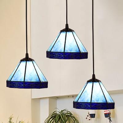 Tiffany Style Castle Suspension Light Glass 3 Heads Blue Pendant Light for Restaurant Cloth Shop