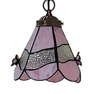 Tiffany Style Cone/Dome Pendant Lamp Glass 1 Light Stained Glass Hanging Light for Dining Room
