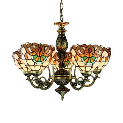 Tiffany Style Dome Chandelier 5 Lights Stained Glass Carved Pendant Lamp for Study Room