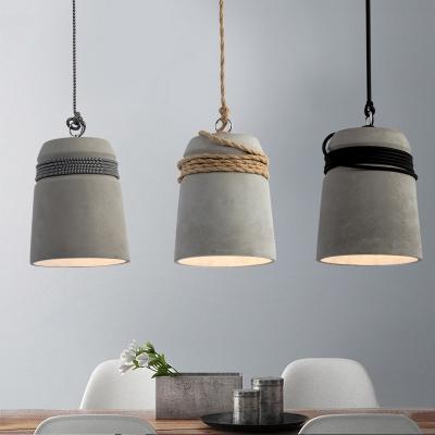 Vintage Bucket Shape Hanging Light 1 Light Cement Ceiling Lamp in Gray for Restaurant Cafe