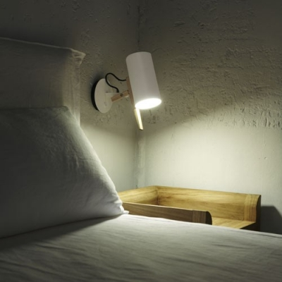 White Cylinder Mini Wall Sconce Modernism Metal Wall Lighting for Bedside, 8