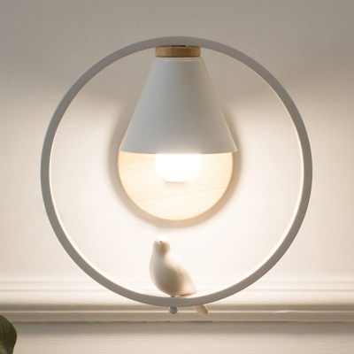 White Ring Wall Sconce with Bird/Boy/Embracing/Girl 1 Light Metal Wall Light for Bedroom