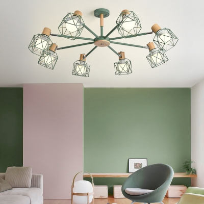 Wire Frame Study Room Chandelier Wood 5/6/8 Lights Industrial Candy Colored Hanging Light