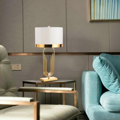 1 Light Drum Table Lamp Elegant Style Metal Reading Light in White for Living Room