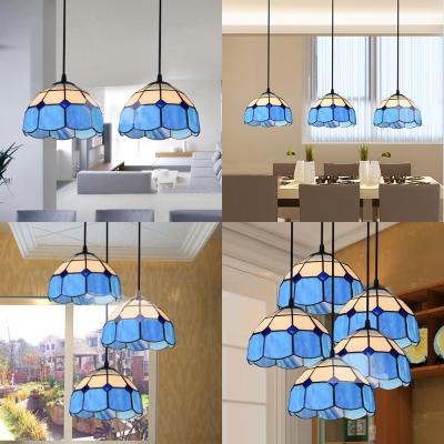 2/3/5 Lights Lattice Dome Suspension Light Nautical Style Glass Pendant Light in Blue for Hotel