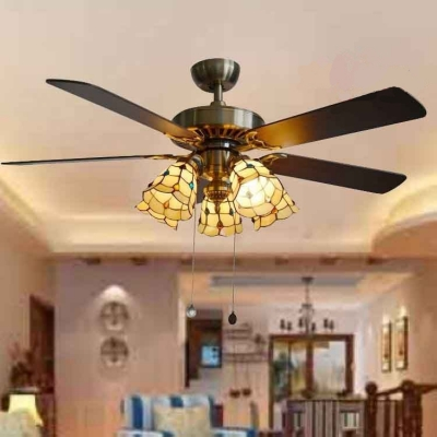 36/42 Inch Antique Beige Semi Flushmount Light Bell 5 Heads Glass Ceiling Fan with Pull Chain for Dining Room