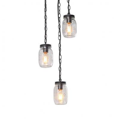 Industrial Black Pendant Light Jar Shape 3 Lights Ripple Glass Hanging Light for Restaurant