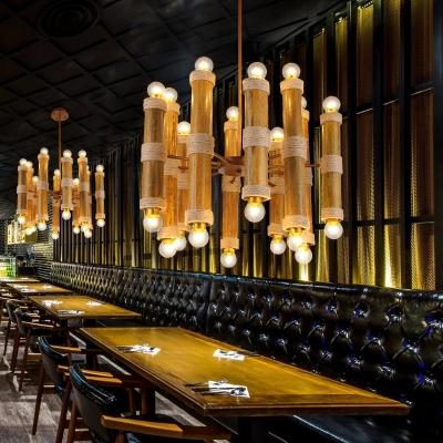 Antique Style Flute Chandelier 20 Lights Bamboo Suspension Light in Beige for Cloth Shop