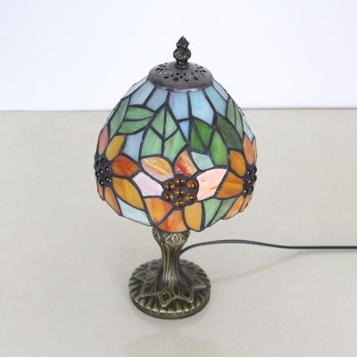 Antique Beige/Blue/Orange Desk Light with Plug Cord 1 Light Stained Glass Desk Lamp for Study Room