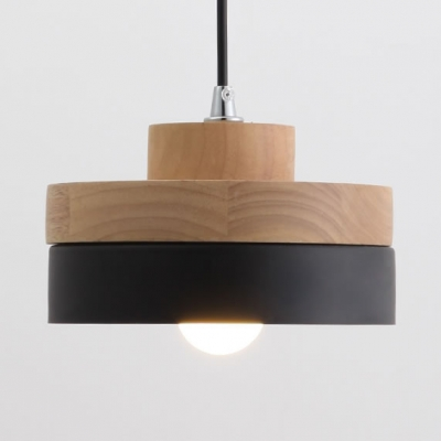 Nordic Style Black/White Hanging Light Round/Square 1 Light Wood Pendant Lamp for Dining Room