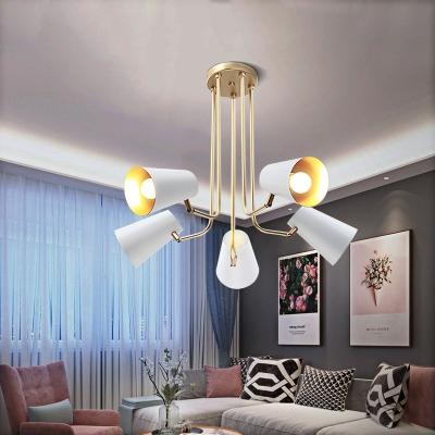 Modern Living Room Chandelier Gold Painted Finish 5 Light White Metal
