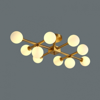 Contemporary Orb Semi Flush Mount Light 6/10 Bulbs Milk Glass Ceiling Light in Gold for Study Room