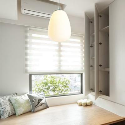 White Ridged Hanging Light 1 Bulb Modern Simple Milk Glass Pendant Light for Dining Room
