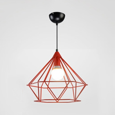 Metal Diamond Cage Ceiling Pendant Living Room One Light Industrial Hanging Light in Blue/Red