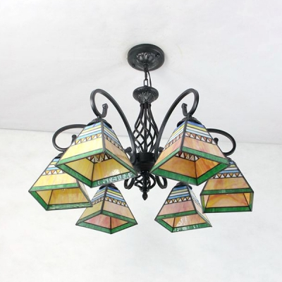 6 Lights Craftsman Chandelier Tiffany Style Stained Gl Pendant
