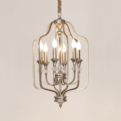 Antique Style Silver Chandelier Candle 6 Lights Metal Hanging Light with Crystal for Restaurant