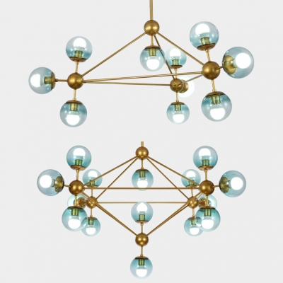 Ball Shade Pendant Lamp 10/15 Lights Creative Metal Chandelier in Brass for Study Room