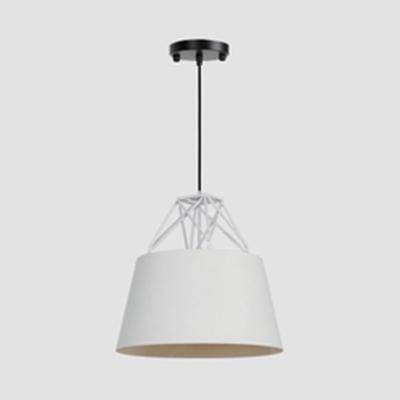 Black/Gray/White Bucket Pendant Lamp with Wire Frame Modern Aluminum Ceiling Light for Cafe