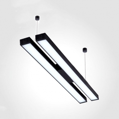 Black/Silver Linear Pendant Light Contemporary Aluminum LED Suspension Light for Office Factory