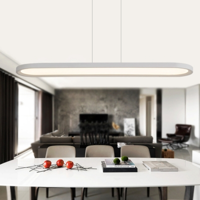 Black/White Linear Pendant Light Contemporary Aluminum LED Suspension Light in Neutral/White for Parking