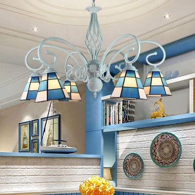 Blue Cone Suspension Light 6/8 Lights Tiffany Style Nautical Glass Chandelier for Dining Room