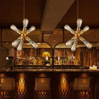 Brass Starburst Shaped Pendant Light 6 Lights Metal Chandelier Light for Dining Room