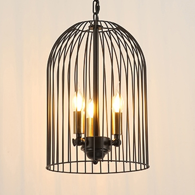 Candle Shape Balcony Chandelier with Birdcage 3 Lights Rustic Style Hanging Light in Black
