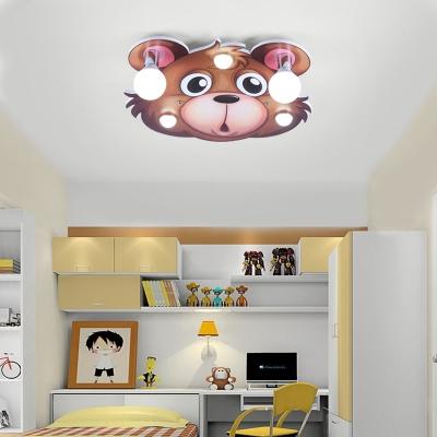 Cartoon Cute Animal LED Flush Mount Light Wood Ceiling Light for Nursing Room Bedroom