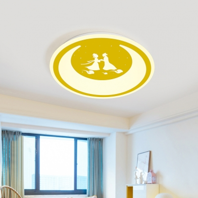 Chinese Valentine's Day Theme Ceiling Mount Light Kid Bedroom Romantic Flush Light with White Lighting